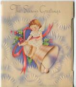 Vintage Christmas Angel Girl Tree Star Snow Snowflakes Holly Bell Greeting Card