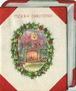 Vintage Christmas Embossed Shaped As Book Holly Cameo Parlor Fire Greeting Card