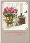 Vintage Coffee Bean Grinder Red Garden Flowers Lace Curtains Greeting Art Card