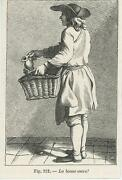 Antique French Man Vendor Selling Ink In Basket Tiny Miniature Old Art Print