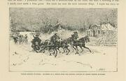 Antique Winter Morning Russia Snow Storm Sleigh Horses Running Old Small Print