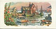 Vintage 1950and039s Rockport Ma Cape Ann Nautical Ocean Boats James Jas F Murray Card