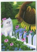 Aceo White Persian Cat Kitten Brown Squirrel Sunflower Echinacea S/n L/e Print