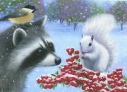 Aceo Raccoon White Squirrel Red Berries Winter Snow Storm Oriole Bird L/e Print