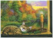 Aceo Tabby Cat Kitten Sleeping Pine Cones Candle Autumn Window Reflections Print