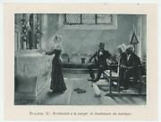 Antique Victorian Girl Altar Roses Cross Marriage Of Virgin Mary Miniature Print