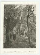 Antique Trees Archway Nature Man Farmer Rope Fence Holland Miniature Art Print