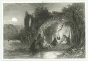Antique Cave Cooking Kettle Pot Hanging Tree Sunset Donkey Tiny Miniature Print