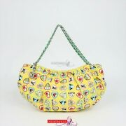 Vintage Yellow Canvas Coco Valentine Heart Print Small Hobo Bag