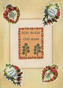 Aceo God Bless Our Home Victorian Vintage 1950and039s Print On 1803 Paper Pastel Art