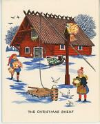 Vintage Swedish House Christmas Ginger Cookie Recipe Print Horse Cat Chick Card