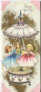 Vintage Cute Pretty Girls May Pole Carousel Music Box Embossed Greeting Art Card