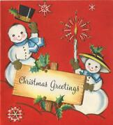 Vintage Christmas Snowman Snow Girl Candle Snowflakes Scotty Dog Embossed Card