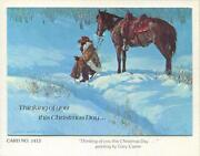 Vintage Cowboy Snow Coffee Horse Blue Colors Artist Gary Carter Greeting Card