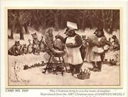 Vintage Christmas Dinner Bears Cooking Chef Animal Friends Frederick Church Card