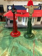 Vintage Marx 2 Railroad Signs. Green/cream High Speed Trains And Red Signal