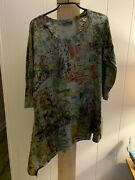 Inoah Green Art To Wear Asymetrical Shirt Top Small Can Fit Larger