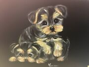 Two Yorkie Puppies Hand Painted On Standing Picture