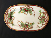 And Co Holiday Garland 12 Oval Serving Tray Platter Pinecones Ribbons