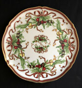 And Co Holiday 12 Round Serving Platter Berries Ribbon Pinecones Goldtrim