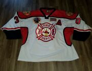 Rare Fire Department Dept. Game Used Worn 9/11 Patch Goalie Hockey Jersey Sz 58