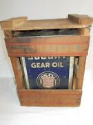 Vintage Socony Gear Oil 5 Gallon Can W/ Wood Crate