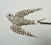 Antique Hinged Hatpin Swallow Bird Textured Sterling Silver