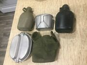 Us Vintage Vietnam War Canteen 1970 1973 W/ Cup Cover 1965 Mess Kit Lot Lot Of 5