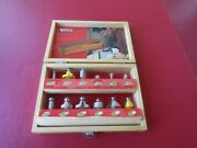 Hickory Woodworking Accessories 12-piece 1/4 Router Bit Set Hinged Wood Box