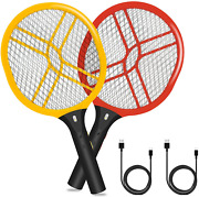 2pcs Red Yellow Electric Mosquito Killer Bug Zapper Swatter Racket Rechargeable