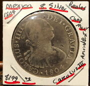 1804 Spanish Silver 8 Reales Colonial Hard Coin Money Of North And South America