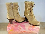Mudd Beebee Taupe Side Zip Boots Size 7.5. Mid Calf, Faux Fur. Free Fedex Ship