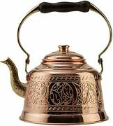 Demmex Heavy Gauge 1mm Thick Hammered Solid Copper Tea Pot Kettle Stovetop Teapo