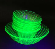 Vintage Bagley Uranium Green Glass Serving Bowl With 6 Dishes And A Serving Dish