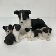 Collectable Leonardo Figurine Border Collie Dog With 4 Puppies Pups Sheep Dog