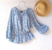 New56blue And White Floral Cotton Peasant Blouse Shirt Boho Plus Size Top1x