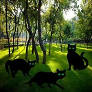 3pcs Black Cat Lawn Halloween Yard Signs Stakes Outdoor Garden Scary Decorations