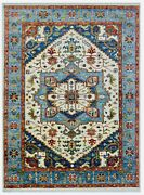 Hand Knotted Wool Ivory Blue Heriz Tribal Oriental Area Rug New Carpet 9 X 12
