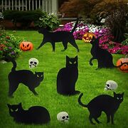6 Pack Black Cat Lawn Halloween Yard Signs Stakes Outdoor Garden Decorations