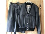 Vintage 60/70s Leather Bomber Jacket Suit.handmade Haute Couture.size 8/10