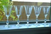 Antique Optic Wine/water Crystal Glass Set Of 5 Needle Etched C 1910-30 Stemware