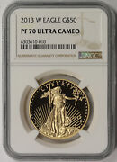 2013-w American Gold Eagle 50 One-ounce 1 Oz Proof Pf 70 Ultra Cameo Ngc