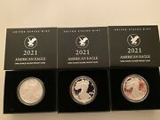 3-2021 S Proof American Silver Eagle Type 2 Gem Proof Ogp S Mint Mark 3 Coins