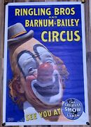 Ringling Bros Barnum Bailey ✯ Cinemasterpieces Clown 1940and039s Blue Circus Poster