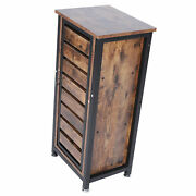 Sofa Side Tables Large Storage Space Antique Brown Night Table Standing Cabinet