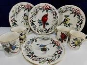 """Vintage Lenox """"winter Greetings 4 Accent Plates And Mugs By Catherine Mc Clung"""