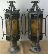 Pair Vintage Spanish Revival Gothic Iron Amber Glass Outdoor Post Lamp Light E