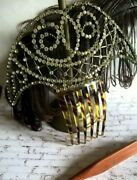 Antique French Large Tiara Hair Comb Turtoise Celluloid And Rhinestones