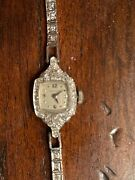 Vintage Hamilton Platinum Gold And Diamond Watch Works Perfectly