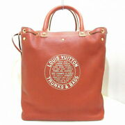 Louis Vuitton Shoe Bag Tote Dark Brown Tobaco Leather Previously Owned No.8479